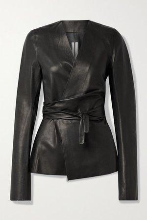 Leather Wrap Jacket - Black