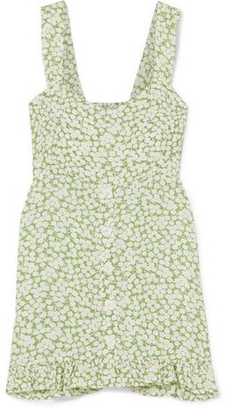 Lou Lou Ruffled Floral-print Crepe Mini Dress - Light green