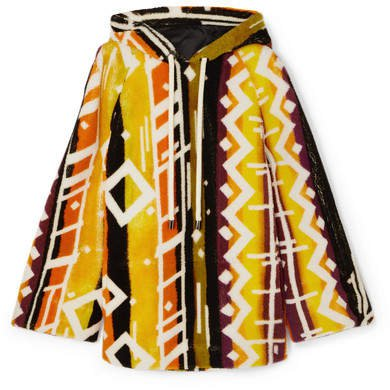 Hooded Printed Shearling Poncho - Yellow