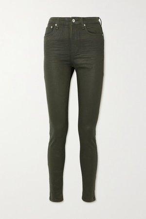 Nina Coated High-rise Skinny Jeans - Green