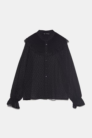 RUFFLED BLOUSE WITH PLEATS - Blouses-SHIRTS   TOPS-WOMAN   ZARA United States