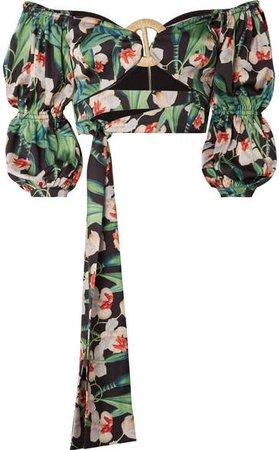 Cropped Off-the-shoulder Floral-print Satin Top - Black