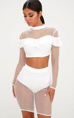 White Fishnet Skirt Skirts | PrettyLittleThing