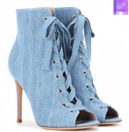 2017 Fashion Light Blue Denim Boots Lace Up Ankle Booties Peep Toe Sandals Boot Mujer Botas Party Shoes Sext Thin Heel High Heels Boots Uk Winter Boots From Brand_things, $179.8| DHgate.Com