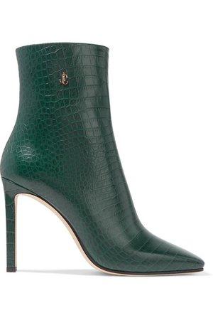 Jimmy Choo   Minori 100 croc-effect leather ankle boots   NET-A-PORTER.COM