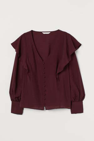 Flounce-trimmed Blouse - Red