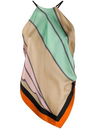 Pink & green DVF Diane von Furstenberg Enya silk scarf top - Farfetch
