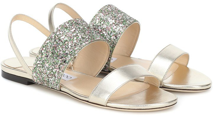 Seia glitter and leather sandals