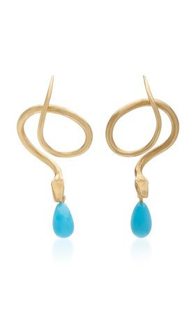14K Gold, Diamond And Turquoise Earrings by Annette Ferdinandsen | Moda Operandi