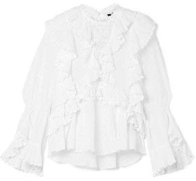 Isabel Marant Zim ruffled broderie anglaise cotton blouse