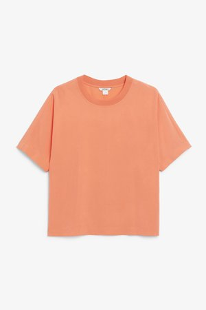 Short-sleeved woven top - Coral - Tops - Monki WW