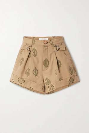 Embroidered Pleated Cotton Shorts - Beige
