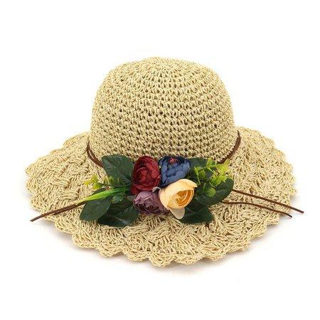 Large Brim Straw Hat With Flowers, Beige