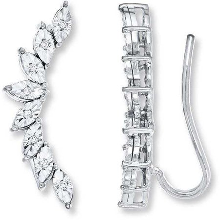 Earring Climbers 1/20 ct tw Diamonds Sterling Silver