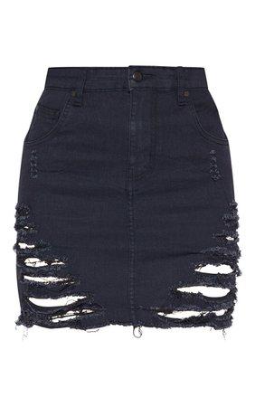 Black Super Shred Denim Mini Skirt | Denim | PrettyLittleThing