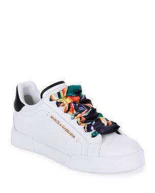 Dolce & Gabbana Portofino Leather Sneakers | Neiman Marcus