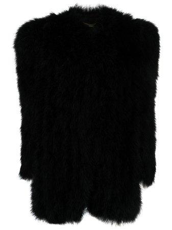 Shop Saint Laurent wide-shoulder short coat with Express Delivery - FARFETCH