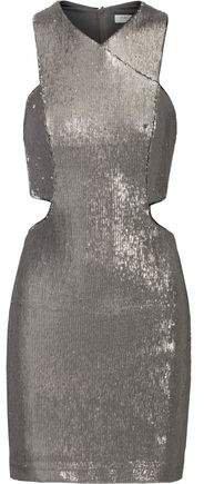 Cutout Sequined Mesh Mini Dress