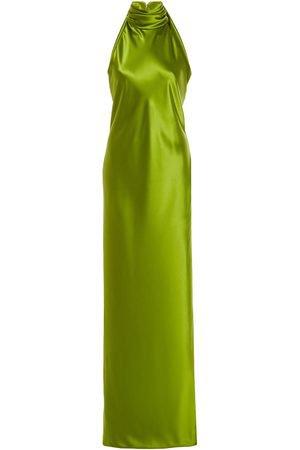 BRANDON MAXWELL Silk-Satin Halterneck Gown