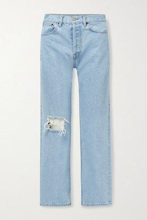 Childhood Distressed High-rise Straight-leg Jeans - Light blue