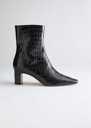 Croc Leather Heeled Ankle Boots - Black - Ankleboots - & Other Stories