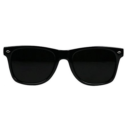 Basik Eyewear - Super Extremely Dark Black Retro Wayfarer 80's Sunglasses 1 or 2 Pairs (Glossy Black Frame, Dark Black)