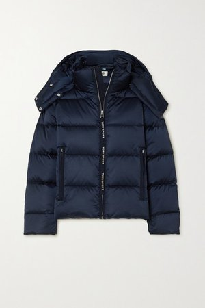 Oversized Hooded Quilted Shell Down Jacket - Navy