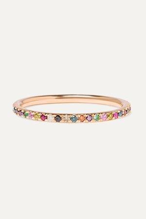 Rose gold Thread 18-karat rose gold multi-stone ring   Ileana Makri   NET-A-PORTER