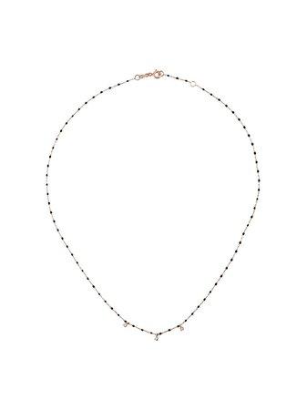 Gigi Clozeau Black RG Bead Diamond And Rose Gold Necklace - Farfetch