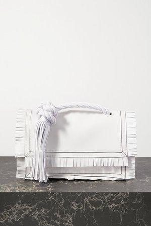 Garavani The Rope Tasseled Fringed Leather Clutch - White