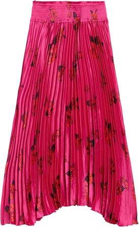 Petite Floral Satin Pleated Midi Skirt