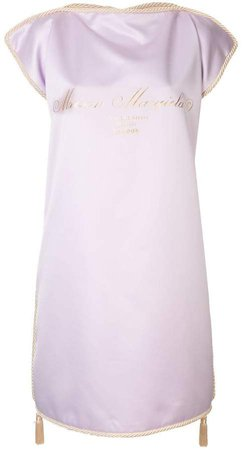 gold logo print shift dress