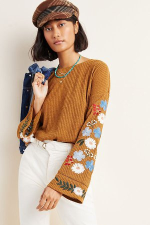 Avie Embroidered Sweater | Anthropologie