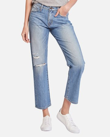 Flying Monkey High Waisted Straight Cropped Jeans