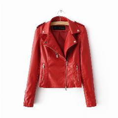 New Fashion Red Leather Jacket Women Bomber Motorcycle Leather Jackets Women 2 Color Leather Coat Brand Jacket Leather