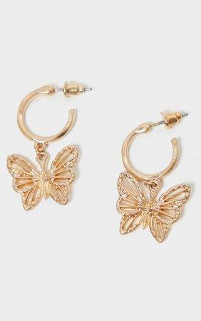 Gold Butterfly Hoop Drop Earrings | PrettyLittleThing