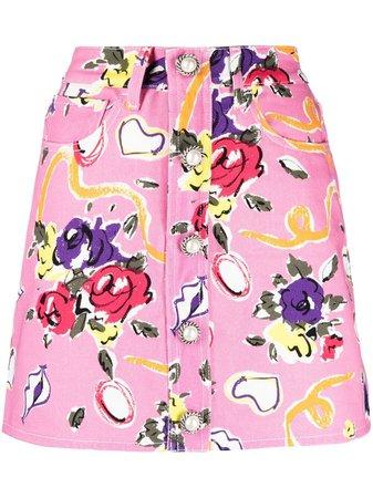 Alessandra Rich all-over Floral Print Denim Skirt - Farfetch