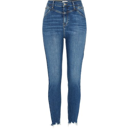 Blue Hailey high rise skinny jeans | River Island