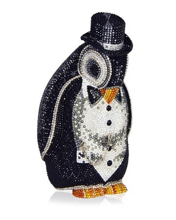 Judith Leiber Couture Alfred Penguin Evening Clutch Bag, Black/Silver | Neiman Marcus