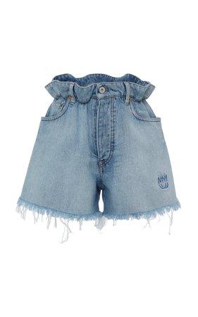 Frayed Denim Shorts by Miu Miu | Moda Operandi
