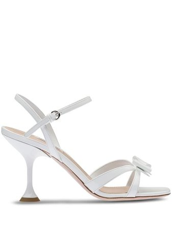 Shop white Miu Miu strappy bow sandals with Express Delivery - Farfetch