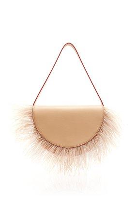 Staud Amal Ostrich Feather Shoulder Bag