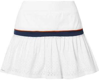 L'Etoile Sport - Stretch-jersey And Pointelle-knit Tennis Skirt - White