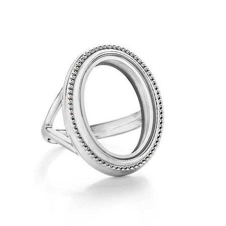 silver locket ring