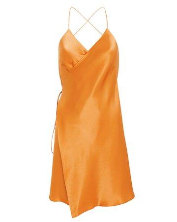 Strappy Silk Wrap Dress