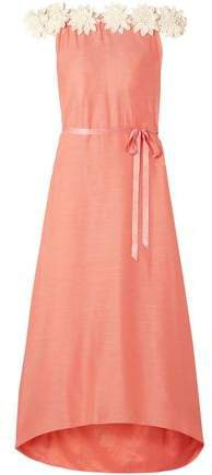 Felicia Off-the-shoulder Lace-trimmed Cotton And Silk-blend Maxi Dress