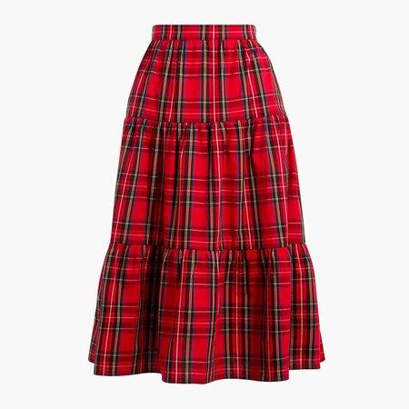 Petite three-tier tartan midi skirt
