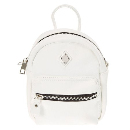 Mini Faux Leather White Crossbody Backpack | Claire's US