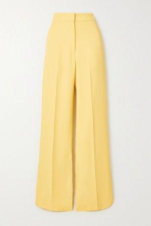 Yellow Uma crepe wide-leg pants   De La Vali   NET-A-PORTER