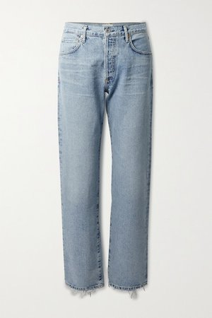 Emery Distressed High-rise Straight-leg Jeans - Light denim